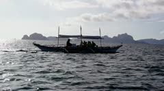 Picturesque sea landscape with boat. El Nido Stock Footage