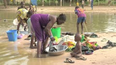Burkina Faso: Wash Day in Africa Stock Footage