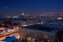 night moscow. - stock photo
