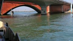 Boat going under Bridge Stock Footage