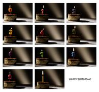 Collage of birthday candles. Stock Illustration