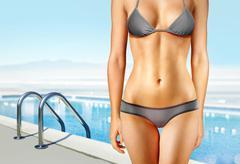 woman near swimming pool l - stock photo