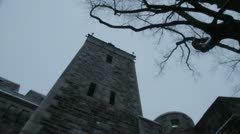 Scenes from Quebec City - walking under the Quebec city gate Stock Footage
