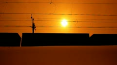 Freight train. sunset Stock Footage