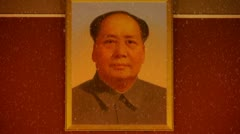 Closeup china beijing Tiananmen national emblem & maozedong portrait. Stock Footage