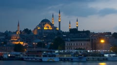 The Suleymaniye Mosque in the late evening, zoom out time-lapse. Stock Footage