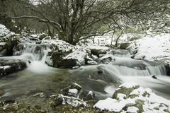 purgatorio waterfall, rascafria, madrid, spain - stock photo
