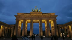 Brandenburg gate in Berlin timelapse from dusk until night - stock footage