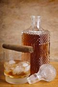 Whiskey and cigar Stock Photos