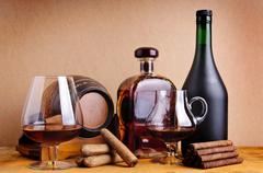 cognac and cigars - stock photo