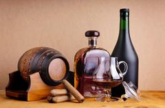brandy and cigars - stock photo