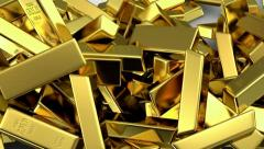 Falling gold bars fills the screen Stock Footage
