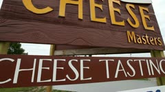 CHEESE SIGN, PAINTED WOODEN SIGN,  DOOR COUNTY WISCONSIN Stock Footage