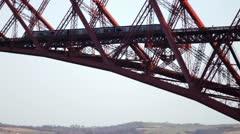 Train on Forth Rail Bridge Scotland Stock Footage