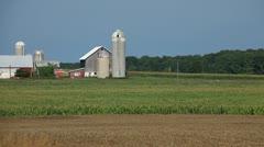 FARMLAND - BARN AND SILOS - DOOR COUNTY WISCONSIN Stock Footage