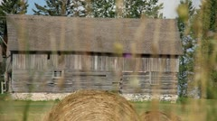 GREY BARN IN COUNTRY - DOOR COUNTY, WISCONSIN Stock Footage