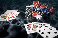 House money poker card game full playing chip Stock Photos