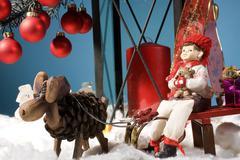 Christmas winter reindeer sleigh decoration xmas Stock Photos