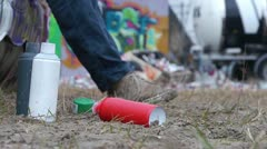 Spray cans shift focus Stock Footage
