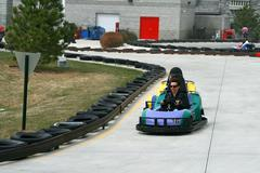 woman on the go cart - stock photo