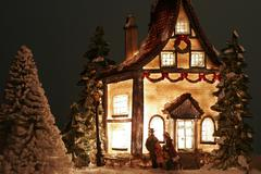 Christmas house winter home decoration xmas snow Stock Photos