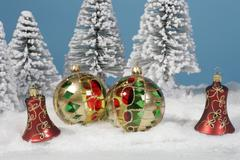 Christmas ball in snow xmas decoration jewels Stock Photos