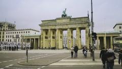 Pedestrians in front of Brandenburg Gate in Berlin Stock Footage