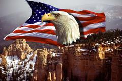 Beauty eaglehead flag composing west beautyful Stock Photos