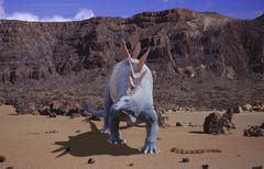 in volcanic landscape dino fantasy saurian north - stock photo