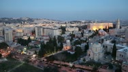 Stock Video Footage of Evening Aerial View with Old City Wall, Jerusalem, Israel