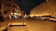Stock Video Footage of Night Life near Jaffa Gate, Jerusalem, Israel