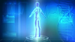 CG Digital 3D Graphics Three Dimensional Male Medical Research Stock Footage