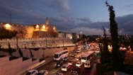 Stock Video Footage of Illuminated Jerusalem Old City Wall at Night, Israel