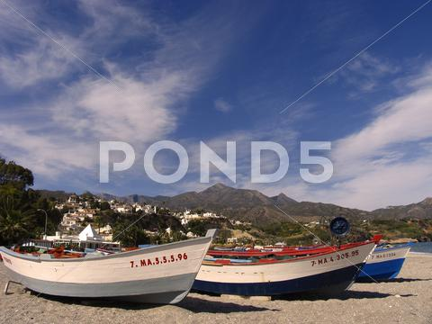 Stock photo of beach travel playa burriana nerja malaga spain