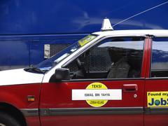 Asia cab city view means transport metropole Stock Photos