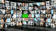 3D Video Wall Green Screen Business People Smart Phone Tablet Technology Stock Footage