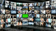 CG Video Wall Green Screen Business People Financial Market - stock footage