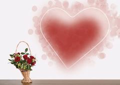 flower abstract love heart art emotion offer red - stock photo