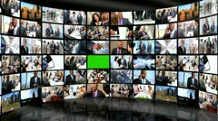 CG Video Wall Green Screen Multi Ethnic Business People - stock footage