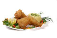 food baked chicken meal meat poultry edibles - stock photo