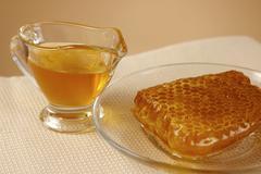Design food breakfast closeup health honey plate Stock Photos