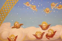 Kuvio kuvake art enkeli sininen pilvi värikäs Kuvituskuvat