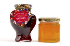 Silhouette love food heart fruit amber berry jam Stock Photos