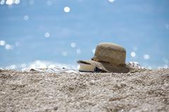 Ranta sininen rauhallinen panoraama hiljainen hiljaisuus hiekka Kuvituskuvat