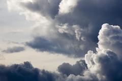 Air beautiful big blue cloud dark dawn evening Stock Photos
