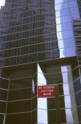 glass fassade palace modern traffic sign tower - stock photo