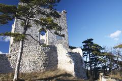 sport castle hiking historical ruin dling - stock photo