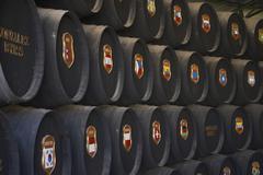 food wine bodega cask sherry casks in gonzales - stock photo