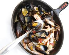 Closeup cook cutout detail horizontal mussel pan Stock Photos