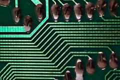 computer abstract technology chip conduct metal - stock photo